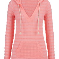 Textured Open Stitch Hoodie With Rope Ties - Pink