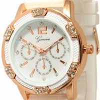 Women&#x27;s White Rose Gold Chronograph Silicone with Crystal Rhinestones Bezel: Watches: Amazon.com