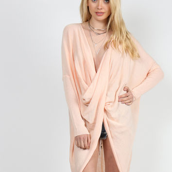 Relaxed Drapey Long Sleeve Top - Peach