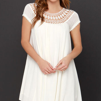 All Baby-Dolled Up Cream Lace Dress