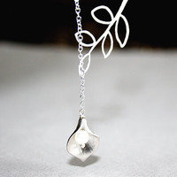 Silver Calla Lily Necklace, Silver Branch Pearls Lariat Necklace, Sterling Silver chain available