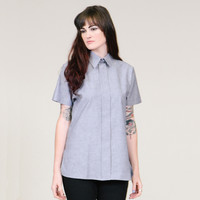 Chambray tunic - faux button up shirt - LIMITED