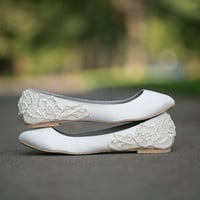 Wedding shoes - Ivory Bridal Flats with Ivory Lace. US Size 9