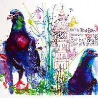 Pigeons art print. Bird art in joyous bright colors with London's Big Ben clock