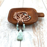 Amazonite Necklace, Natural Jewelry, Boho Style Necklace, Gypsy Jewelry, Mala Necklace, Hippie Jewelry, Beach Jewelry, Casual Necklace