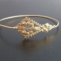 Filigree Bangle Bracelet Maylana - Gold, Filigree Bracelet, Boho, Gypsy, Boho Chic, Bohemian Bracelet, Boho Jewelry, Filigree Jewelry