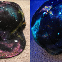 Space Junk // Galaxy Flat Brim // Fitted Hat // UV blacklight // Glow in the Dark