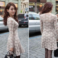 New Women Korean Fashion Long-sleeved base Flower Slim lace Dress Khaki B135