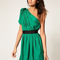 ASOS | ASOS One Shoulder Drape Dress with Contrast Belt at ASOS