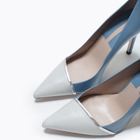 Leather two-tone high heel court shoe