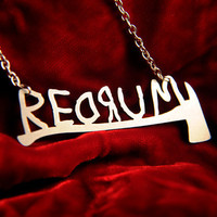 REDRUM horror necklace with axe inspired by The Shining in silver stainless steel - silhouette movie geekery jewelry