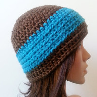 Cozy Thick Beanie - Turquoise and Brown - Made To Order - Unisex