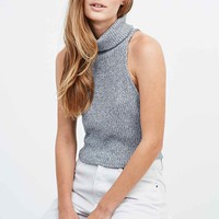 Sparkle & Fade Turtleneck Tank in Blue - Urban Outfitters