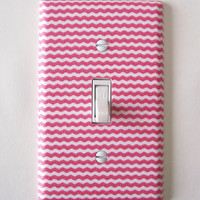 Coral &amp; White Mini Chevron Single Toggle Switchplate Switch Plate