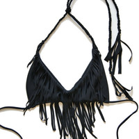 Black Fringe Bikini Top