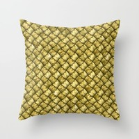 Patchwork Gold Throw Pillow by Alice Gosling
