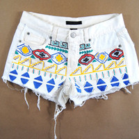 bleached denim / tribal printed shorts / hand painted shorts / short shorts / distressed shorts small s
