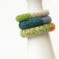 bangles green grey teal orange mustard - eco-friendly - winter accessories - felt wool - soft jewelry