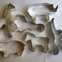 ZOO Cookie Cutter set: Zebra, Giraffe, Lion, Monkey, Rhino, & Hippo