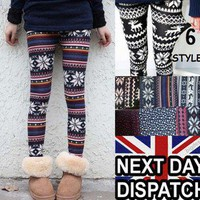 AZTEC WINTER LEGGINGS KNITTED THERMAL WARM PATTERNED SNOWFLAKE FAIRISLE 1 SIZE