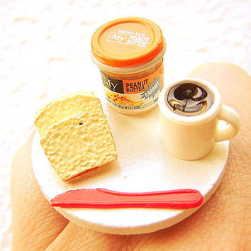 Breakfast Ring Bread Peanut Butter Coffee  Miniature Food  Jewelry