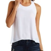 Chiffon Swing Halter Top by Charlotte Russe - White