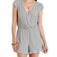 Striped Ruffle T-Shirt Romper by Charlotte Russe - Black Combo