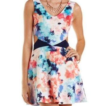 Floral Print Cut-Out Skater Dress by Charlotte Russe - Multi