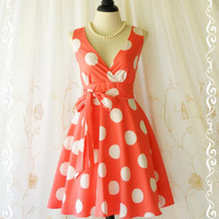 My Lady II Spring Summer Sundress Coral Pink Dress Polka Dot Sundress Party Tea Dress Coral Bridesmaid Dresses Coral Summer Dress XS-XL