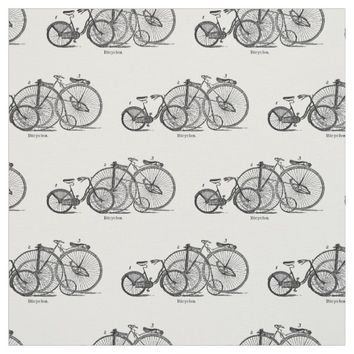 Vintage Bicycles Black and White Fabric