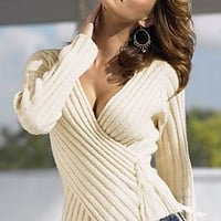 Faux Wrap Surplice Top from VENUS