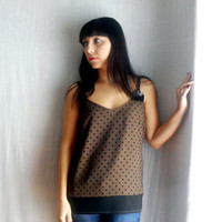 Polka dot babydoll top -  tank top black camisole polka dot blouse womens top