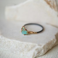 Variance Objects Womens Raw Opal Ring - Multi Opal 6