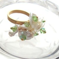 Jewelry Ring Keshi Pearl Peridot Swarovski Adjustable