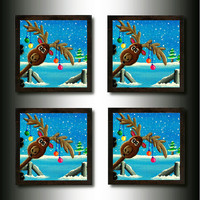 Drink Coasters:  Set of  4 &quot;Photo-bombing&quot;  Reindeer