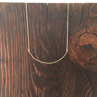 Thin Hammered Curved Bar Necklace in Gold with Delicate Chain