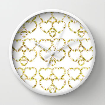 Golden hearts Wall Clock by VanessaGF