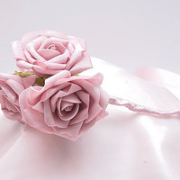 Bridal Headband - Shabby chic pink roses - for the Bride or the Bridesmaids
