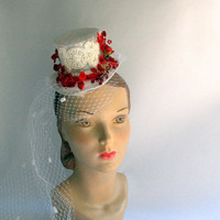 Bridal Top Hat - White and Red Bridal Top Hat - Christmas Bride