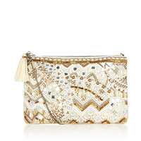 White Zip Top Clutch Bag | Ivory | Accessorize