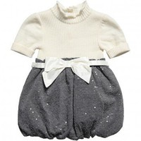 Girls Ivory & Grey Wool Bubble Dress