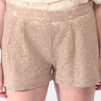 Pleated Lace Shorts