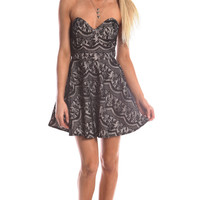 EXPOSED BACK BUSTIER LACE DRESS