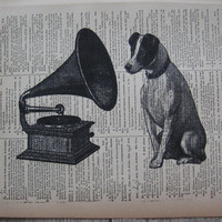 Gramophone Art Print - Book Page Print - Old Time Record Player with Fox Terrier Dog- RCA