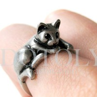 Miniature Kitty Cat Animal Pet Ring in Silver Sizes 5 to 9 available by Dotoly