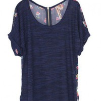 Navy T-shirt with Cotton front and Floral Printed Chiffon Back