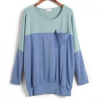 Oversized Batwing Top with Color Block Design