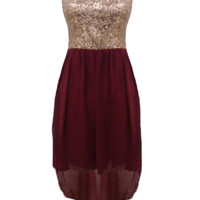 Wine Asymmetric Dress with Sequin Top&amp;Cutout Back Detail