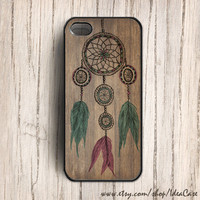Dream catcher iPhone 4 case ,  iPhone 4s case , iPhone 5 case , Plastic iPhone Case , Dream Catcher on Wood Pattern , Hard Case