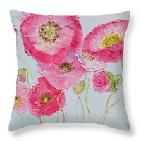 "Bright Pink Poppies Throw Pillow 14"" x 14"""